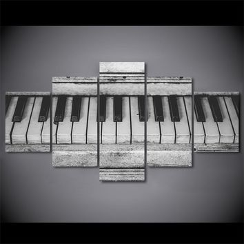 Old Music Piano Keys Keyboard Black and White Wall Art on Canvas Panel print Poster