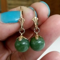 Vintage Green Chrysoprase Ball Dangle Pierced Earrings Fleur De Lis Lever Backs