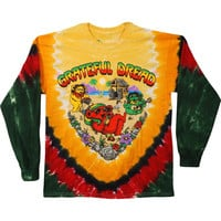 Grateful Dead Men's  Positive Vibrations Tie Dye  Long Sleeve Multi