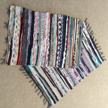 Chindi hand woven rag rugs set of two 3'Chindi handmade rag rug, boho rag rug, vegan rag rug, hippie handmade rag rug, multii colored rug