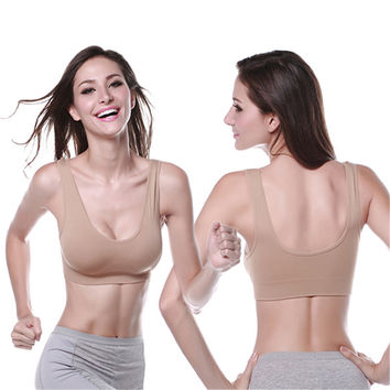 Women Ladies Sports Vest Bra Tops Underwear Seamless Slim Casual Push Up Bra Size M-XL for
