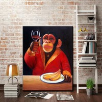 Art Oil Painting Monkey canvas home abstract canvas picture No Frame