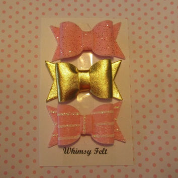 Set of 3 pink glitter, gold metallic and striped 2 inch felt bow, DIY headband supply, felt bow, handmade, made to order
