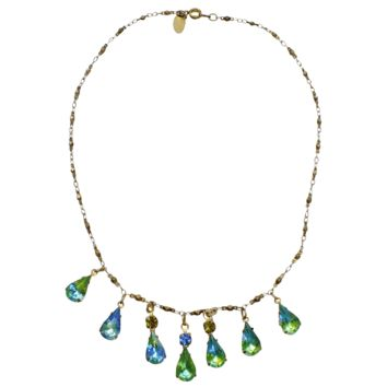Blue/Green Aurora Borealis Rhinestone Necklace on Brass Chain-signed Janny