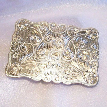 Vintage Sterling Silver Belt Buckle: Engraved Flowers and Swirls - P0009