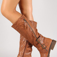 Buckle Asymmetrical Zip Knee High Riding Boot Color: Black, Size: 7