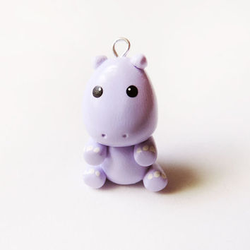 Cute Pastel Purple Hippo Charm Polymer Clay Animal
