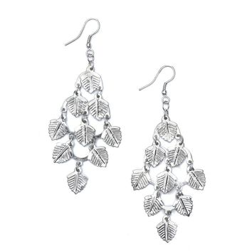 Falling Leaves Earrings - Silvertone - Matr Boomie (Jewelry)