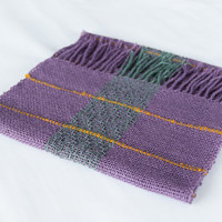 Hand woven wool scarf, in petrol green, purple and yellow ocher