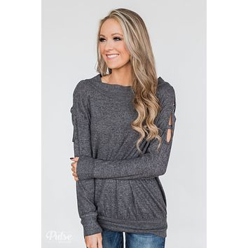 Keep Holding On Sleeve Detail Sweater- Charcoal