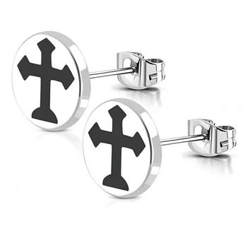 Stainless Steel Cross Earrings (c158)