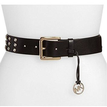 Michael Kors Rhinestone Studded Leather Belt
