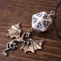 dragon necklace dungeons and dragons pendant D20 dice necklace dice jewelry D20 necklace black white