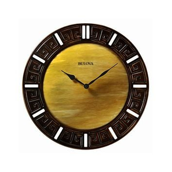 Bulova Tephra Large Decorative Wall Clock - Domed Fired Glass Dial