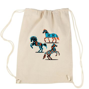 Native American Horses Southwest Drawstring Backpack