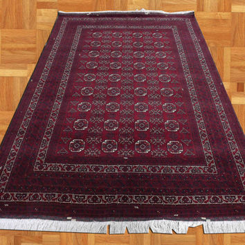 Handmade turkmen waziry design rugs, natural wool color, hand knotted rugs 100% Wool,Vintage handmade rugs