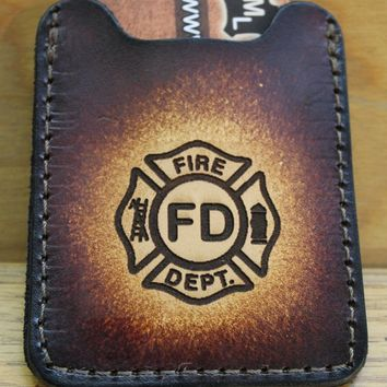 Flip Clip, Engraved Fire Department Logo-- Men's Brown Leather Credit Card Wallet with Money Clip--Initials Free!
