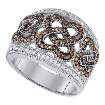 10kt White Gold Womens Round Brown Color Enhanced Diamond Heart Ring  Cttw