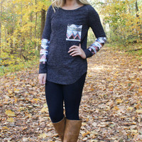 Sequin Sleeved Tunic Top with Pocket - Navy