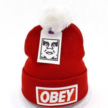 Obey Women Men Embroidery Beanies Knit Wool Hat Cap-23