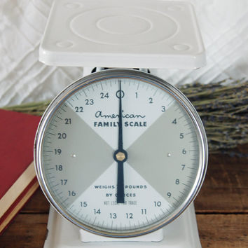 Vintage American Family 25 LB Kitchen Scale in White