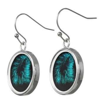 Feather in turquoise earrings