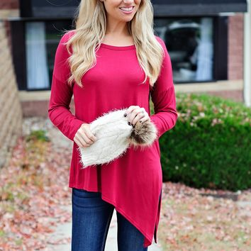 * Im Forever Yours Asymmetrical Top:  Wine