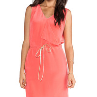 Greylin Carly Drape Front Silk Dress in Coral