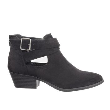 More by Soda Biker's Side Slit Cutout Ankle Bootie w Belted Detail On Chunky Block Heel