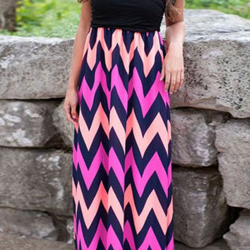 Pink and Black Strapless Zig Zag Striped Dress
