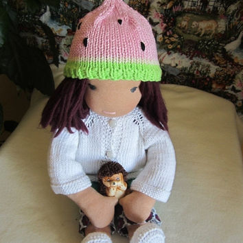 "ON SALE - 10% OFF Crochet watermelon hat  for 16""-18"" Waldorf doll and American girl doll"
