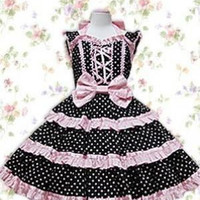 Dot Bow Ruffles Cotton Gothic Lolita Dress Black With White costumes cosplay halloween Christmas Alternative Measures - Brides & Bridesmaids - Wedding, Bridal, Prom, Formal Gown