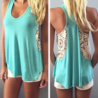 New Fashion Womens Ladies Summer Vest Top Sleeveless Blouse Casual Tank Tops Lace T-Shirt Lack Blue S M L XL = 5618639361