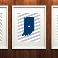 Indianapolis Colts Set of Three Giclée Prints - 8x10 -  Go Colts - Indiana State Print