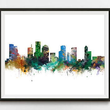 Houston Skyline, Cityscape, Houston Texas Cityscape Art Print Office Decor Watercolor Printable Gift Skyline City Print Digital Download