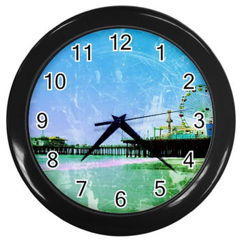 Blue Santa Monica Pier Wall Clock (Black)