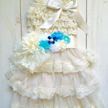 Rustic girl dress with blue sash, aqua, ivory country Champaigne, cream lace chiffon dress, flower girl, bridal wedding, shabby, vintage
