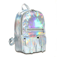 2017 Hot selling Fashion Hologram Backpack For School Student Women's Laser Silver Color Holographic Bag DF111