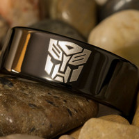 Tungsten Carbide Band 9mm Pipe Black Transformers Autobot Design Ring