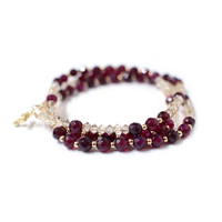 Rosary bracelet, Cubic Cross, Ruby Agate bracelet, gold plated small ball, Swarovski crystal