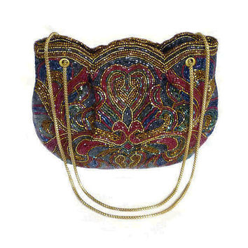 Walborg Handbag, Beaded Sequin, Evening Purse, Made in Philippines, Fleur De Lis, Gold Chains, Vintage Accessories