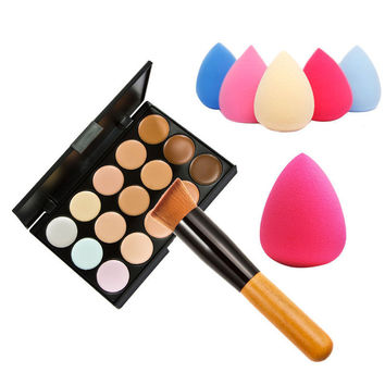 15 Color Concealer Palette + Wooden Handle Brush + Teardrop-shaped Sponge Puff Makeup Base Foundation Concealers Face Powder