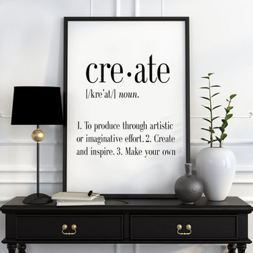 Definition of Create Funny wall art Typography Print Funny Poster Name Definition Art Minimalist Art Art Print Instant Download Print
