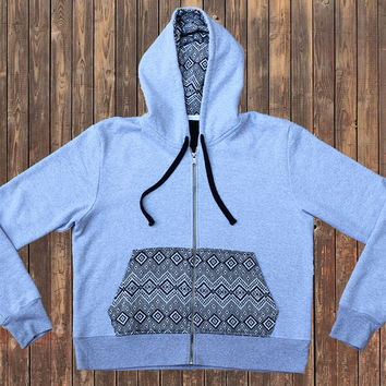 Nomad Tribe Loreto Grey hoodie, Peruvian cotton and Alpaca wool pocket