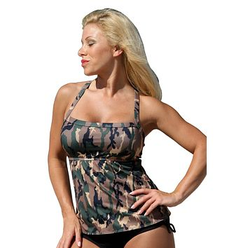 UjENA Camo Full Figure Tankini Plus Swim Dress Top, Bottom or Set