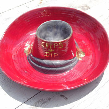 FREE SHIPPING - Cowboy Hat Chips & Dip Tray/Serving Tray/Chips and Dip Bowl/Western Decor