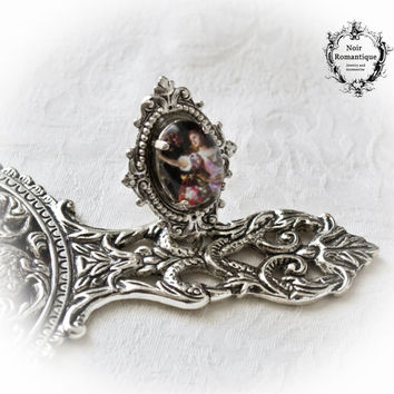 The lady with roses Victorian Gothic Silver Ornate Adjustable Ring  -Victorian Gothic Ring-Gothic Ring- Ring