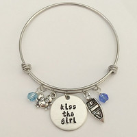 "Disney inspired Little Mermaid bangle bracelet ""kiss the girl"" Ariel sebastian disney bracelet disney jewelry"