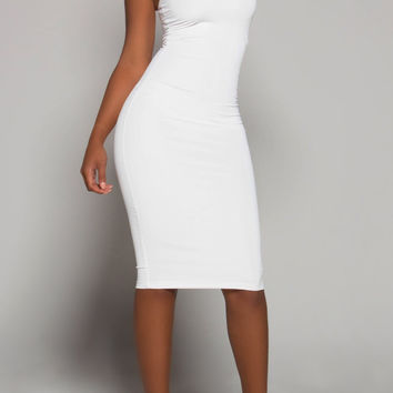 ELEGANT White Turtleneck Fitted Dress (C)