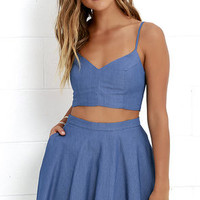 Accompany Me Blue Chambray Two-Piece Dress